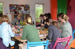 Collaborative Art Table from wild & grace's 'Creative Day for Women'