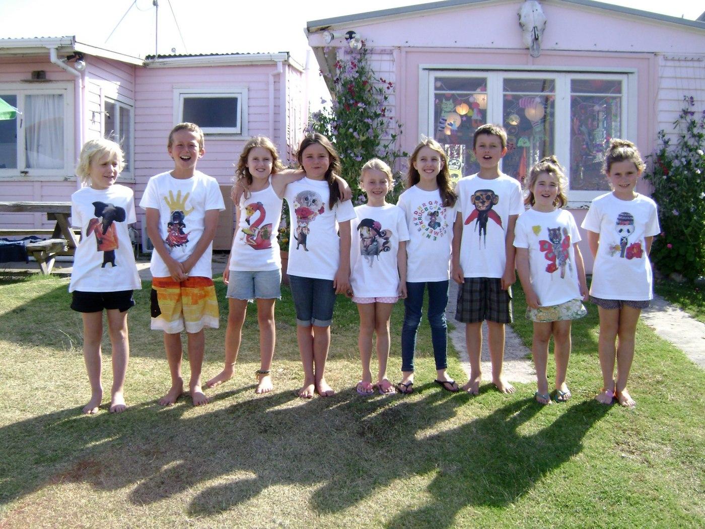 Heidi's kids' art classes - design your own collage t.shirt