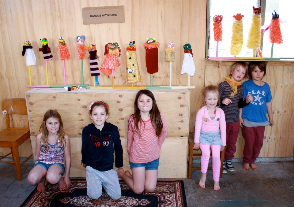 students at the pink house studio