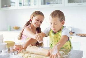 Children making biscuits