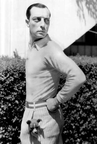 Buster-Keaton-with-a-puppy-in-his-pocket