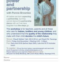 Peace, Power and Partnership: 1-day workshop in Tauranga with Pennie Brownlee for Parents, Educarers and ECE Teachers: 2 November 2018
